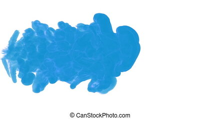 blue ink drop in water on a white background. 3d render. voxel graphics. computer simulation of smoke. ink shot in the water 1.
