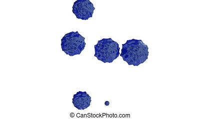 blue ink droplet falls on the white surface. 3d render...