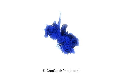 blue ink fell into the water. twist in the water.