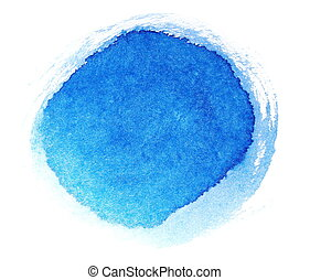 blue ink hand painted brush strokes isolated on white