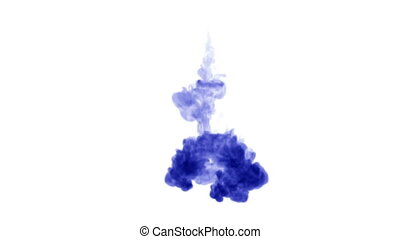blue ink in water on white background. 3d animation ink with luma matte as alpha channel for effects or background. 2