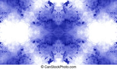 blue ink in water on white background. 3d animation ink with luma matte as alpha channel for effects or background. Flows form figure like rorschach test 1