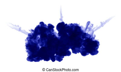 blue ink inject in water on white background. 3d animation...
