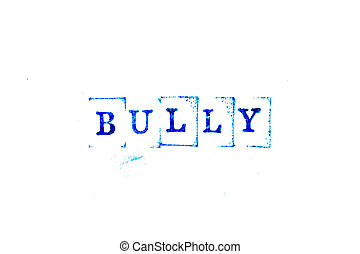 Blue ink of rubber stamp in word bully on white paper background