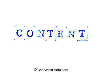 Blue ink of rubber stamp in word content on white paper background