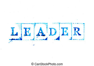 Blue ink of rubber stamp in word leader on white paper background