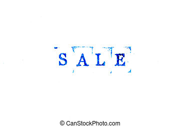 Blue ink of rubber stamp in word sale on white paper background