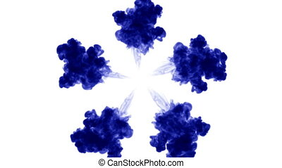 blue ink on white background. 3d render, with luma matte. circular ink injection structure 11