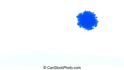 Blue Ink Reacting In white paper