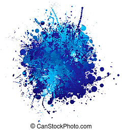 blue ink splat - shades of blue abstract ink splat with...