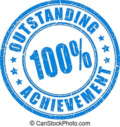 Blue ink stamp outstanding achievement, vector illustration