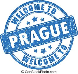 Blue ink stamp Welcome to Prague