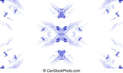 blue Ink trickle dissolves in water in slow motion isolated...
