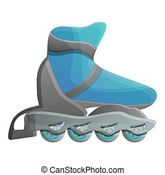 Blue inline skates icon, cartoon style