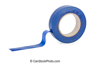 Blue insulation tape isolated on white background