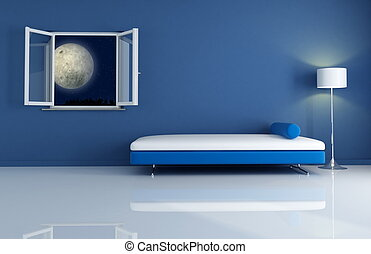 blue interior by night - blue night modern interior-the ...