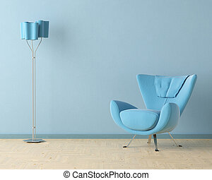 blue interior design scene - Interior design scene with a ...