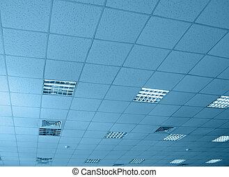 blue interior warehouse ceiling, construction