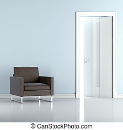 blue interior with chair