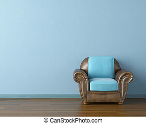 blue interior with couch - Interior design scene with a...