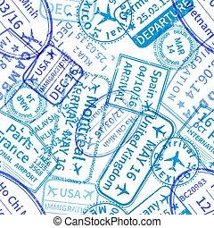 Blue International travel visa rubber stamps imprints on white, seamless pattern