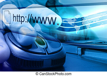 Blue Internet Mouse Search - A businessman is about to push...