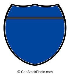 Blue Interstate Sign - A blue interstate sign over a white...