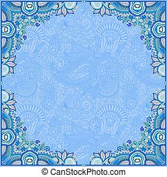 blue invitation card with ethnic background