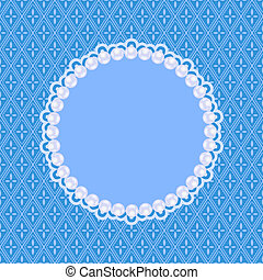 Blue Invitation Card with White Pearls