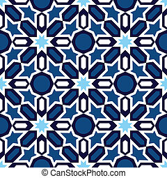 Blue Islamic ornaments - Vector of blue and white mosaic in...