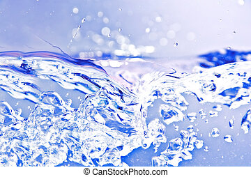 Blue isolated water splash.