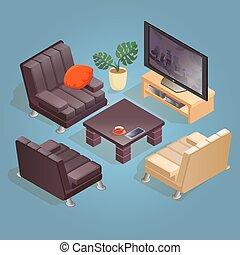 blue., isométrique, isolé, fauteuil, icône, dessin animé, tv