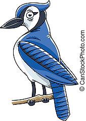 Blue Jay Bird - A cartoon Blue Jay bird perched on a twig.