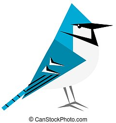 Bird clipart of Blue Jay in flat color and geometric design pattern