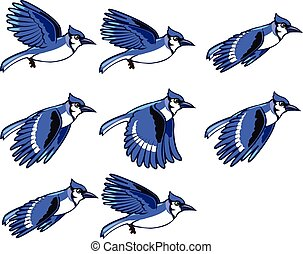 Blue Jay Flying Sprite - Vector Illustration of Blue Jay...
