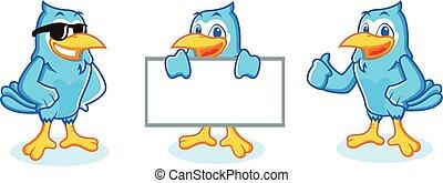 Blue Jay mascot happy and bring board