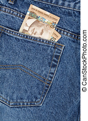 Blue jean and canadian dollars - a blue jean and canadian...
