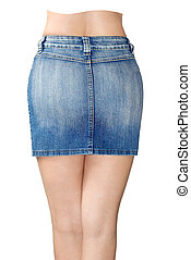 Blue jean miniskirt is the rear view