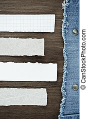 blue jean on wood texture background