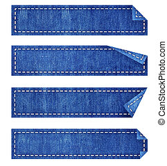 blue jean tag stick on white background