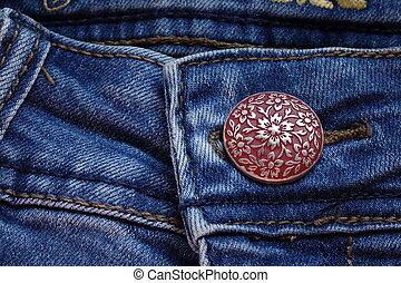 blue, jeans, button