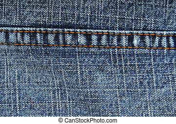 Blue jeans close up of stitching
