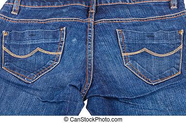 Close up photo of indigo blue jeans