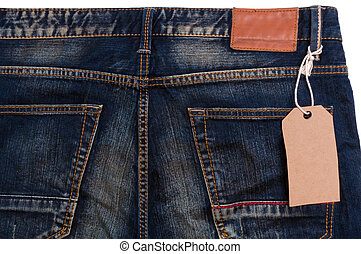 Blue jeans detail blank tag paper jeans label on white...