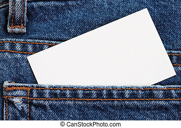 Blue jeans detail with blank badge