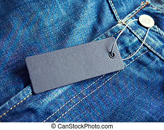 Blue jeans detail with blank label tag