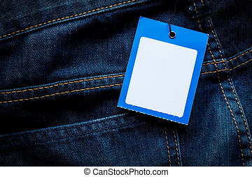blue jeans detail with empty label tag mockup for brand presentation