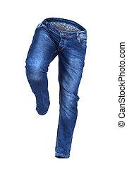 blue-jeans, isolé, courant, fond, blanc, vide