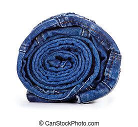 blue-jeans, isolé, fond, blanc, rouleau