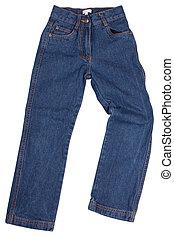 blue-jeans, isolé, fond, enfant, blanc